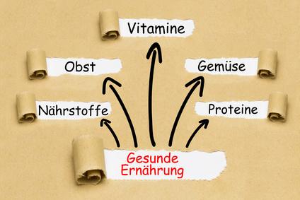 Ernährung umstellen: Foto von den fünf Bausteinen einer gesunden Ernährung wie Proteine, Gemüse, Vitamine, Obst und Nährstoffe.