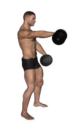 Frontheben mit Kurzhanteln: Foto von einem Mann bei der Schulter-Übung Frontheben mit zwei Kurzhanteln.