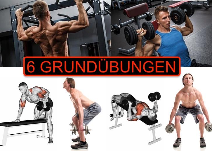 Grundübungen Trainingsplan: Foto von einem Mann bei 6 Fitness-Übungen.