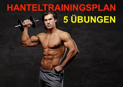 Hanteltrainingsplan: Foto von einem muskulösen Mann mit einer Kurzhantel in der Hand.