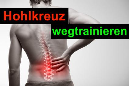 Hohlkreuz wegtrainieren: Foto von einem Mann mit Rückenschmerzen.