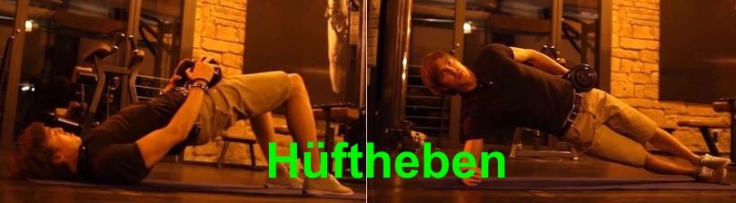 Foto von einem Mann bei zwei Übungen mit Hüftheben.