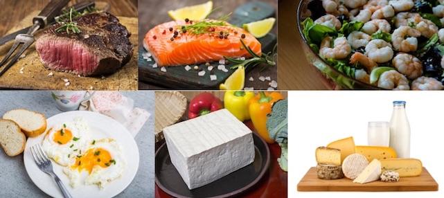 Foto von eiweißhaltigen Lebensmitteln wie Fleisch, Fisch, Meeresfrüchte, Eier, Tofu und Milchprodukte.