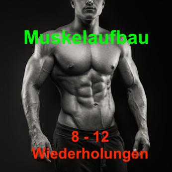 Muskelaufbau 8 bis 12 Wiederholungen: Foto von einem sehr muskulösen Mann.