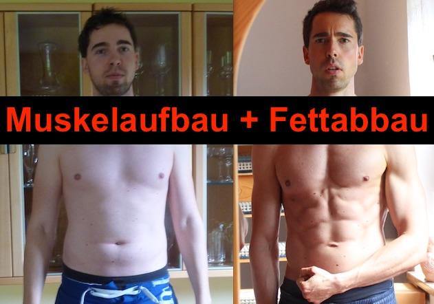 Muskelaufbau und Fettabbau gleichzeitig: Foto von einem dicken Mann ohne Muskeln und einem schlanken Mann mit Muskeln.
