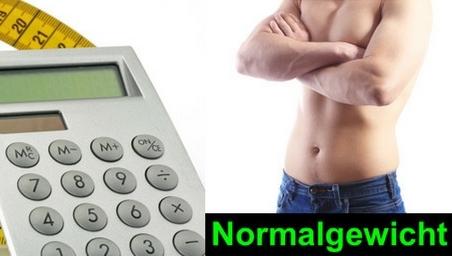 Normalgewicht berechnen: Foto von einem Taschenrechner und einem Mann mit Normalgewicht.