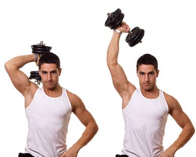 Oberarmtraining: Foto von einem Mann bei der Trizeps-Übung Trizepsdrücken mit Kurzhantel einarmig.