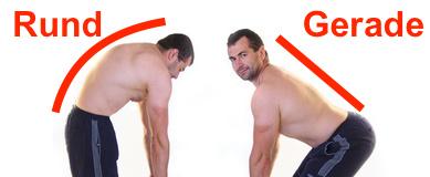 Rundrücken wegtrainieren: Foto von einem Mann mit Rundrücken und ohne Rundrücken.