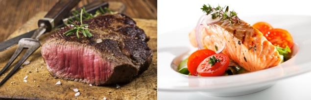 Sixpack Ernährungsplan: Foto von den eiweißhaltigen Lebensmitteln Fleisch und Fisch.