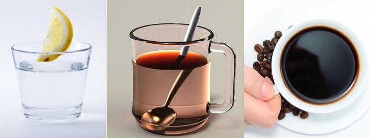 Sixpackernährung: Foto von den Getränken Wasser, Tee und Kaffee.