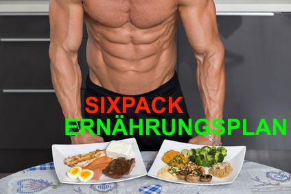 Sixpack Ernährungsplan: Foto von einem muskulösen Mann mit Lebensmitteln für die Sixpackernährung.
