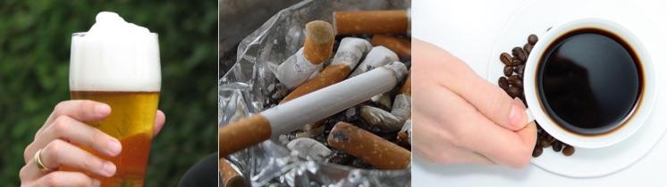 Testosteronmangel was tun: Foto von ungesunde Dingen wie Bier, Zigaretten und Kaffee.