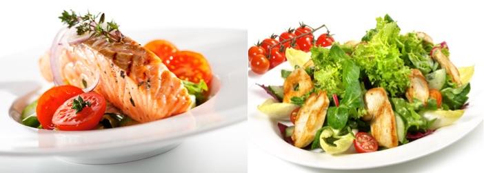Wie motiviere ich mich zum Abnehmen? Foto von zwei eiweißhaltigen Mahlzeiten auf kleinen Tellern.