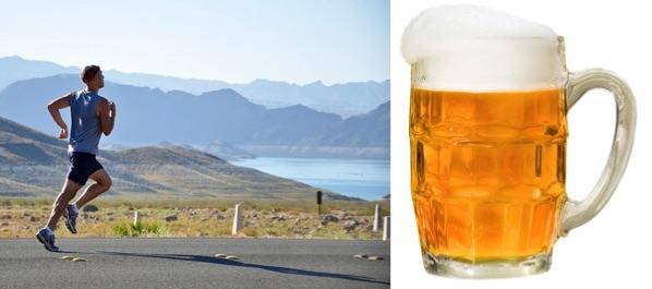 Wie motiviere ich mich zum Sport? Foto von einem Mann beim Joggen und einem 0,5 Liter Bier im Glas.
