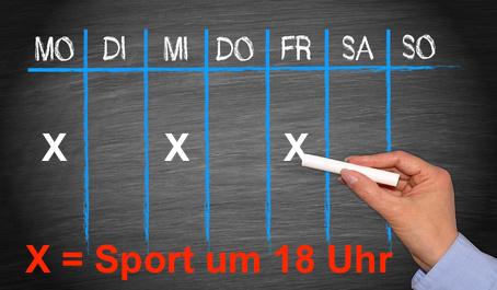 Wie motiviere ich mich zum Sport? Foto von einem Wochenplan zum Sporteinheiten planen.
