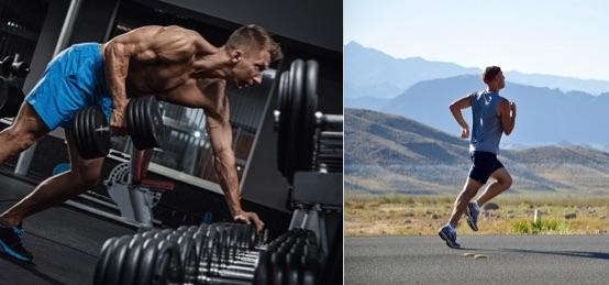 5 kg abnehmen in 2 Wochen? Foto von einem Mann beim Krafttraining und Ausdauertraining.