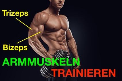 Armmuskeln trainieren: Foto von einem muskulösen Mann mit einer schweren Kurzhantel in der Hand.
