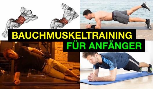Foto von vier Übungen zum Bauchmuskeltraining für Anfänger.