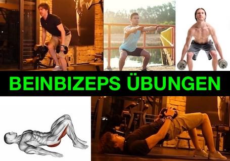 Foto von fünf Beinbizeps Übungen.