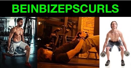 Foto von drei Beinbizepscurls Übungen für zuhause.