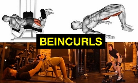 Beincurls: Foto von vier Beinbeuger-Übungen zuhause und Maschine.