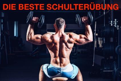 Beste Schulterübung: Foto von einem Mann beim Schulterdrücken mit Kurzhanteln von hinten.