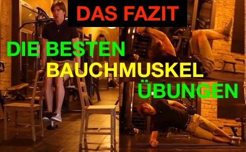 Die besten Bauchmuskelübungen Fazit: Foto von den drei besten Bauch-Übungen.