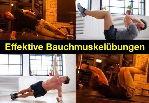 Effektive Bauchmuskelübungen: Foto von vier effektiven Bauch-Übungen für zuhause.
