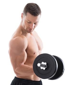 Foto von einem Mann bei der Übung einarmige Kurzhantel Curls.