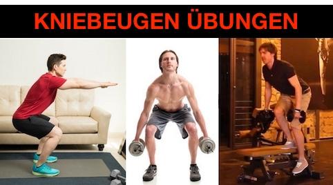 Kniebeugen richtig ausführen: Foto von drei Kniebeugen-Übungen.