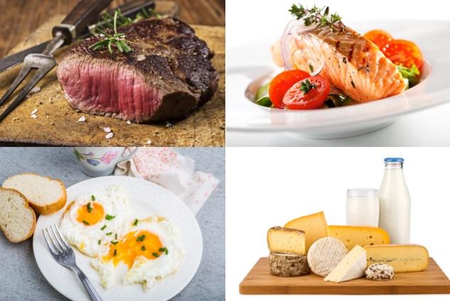 Körperfettanteil senken: Foto von eiweißhaltigen Lebensmitteln wie mageres Fleisch, Fisch, Eier und fettreduzierte Milchprodukte.
