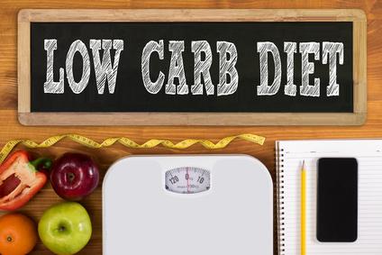 Low-Carb-Ernährungsplan: Foto von einem Low Carb Diät Schild, einer Waage, Obst und Gemüse.