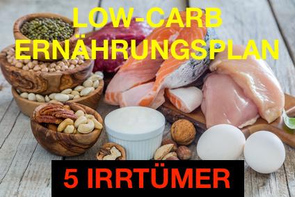 Low-Carb-Ernährungsplan: Foto von Lebensmitteln mit wenig Kohlenhydraten.