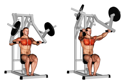 Obere Brust Training: Foto von der Übung Schrägbankdrücken mit Maschine.
