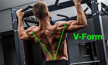 Oberer Rücken Übungen: Foto von der Übung Klimmzüge zur V-Form.