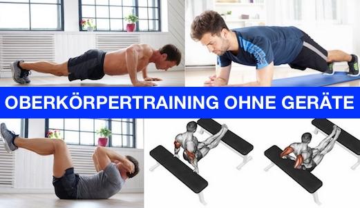 Foto von einem Mann bei vier Übungen beim Oberkörpertraining ohne Geräte.