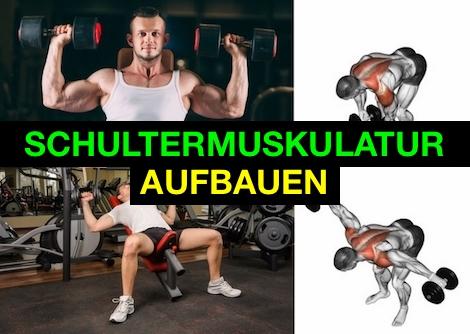 Foto von drei Übungen zum Schultermuskulatur aufbauen.
