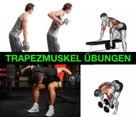 Foto von vier Trapezmuskel Übungen.