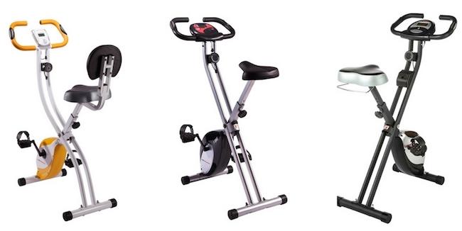 Unterschenkel trainieren: Foto von drei Fahrrad Heimtrainern.