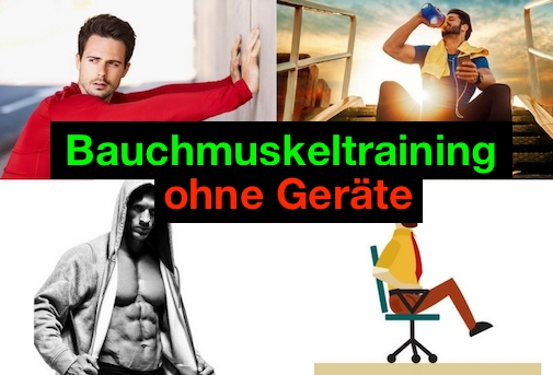 Bauchmuskeltraining ohne Geräte: Foto von vier Übungen für den Urlaub.