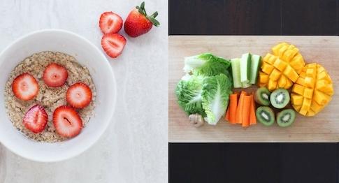 Bauchspeck weg Ernährung: Foto von Haferflocken, Obst und Gemüse.