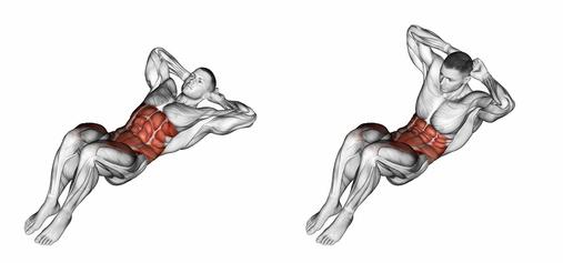 Bauchmuskelübungen zu Hause: Foto von der Übung Crunches.
