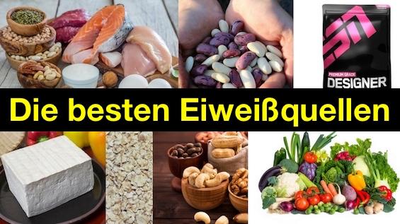 Die besten Eiweißquellen: Foto von tierischen und pflanzlichen Eiweißquellen.