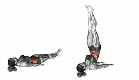 Effektive Bauchmuskelübungen für zuhause: Foto von der Übung Beinheben.