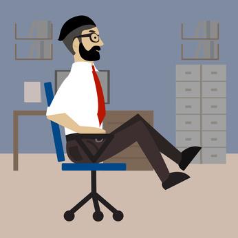 Effektive Bauchübungen im Büro: Foto von der Übung seitliches Beinheben auf dem Stuhl.