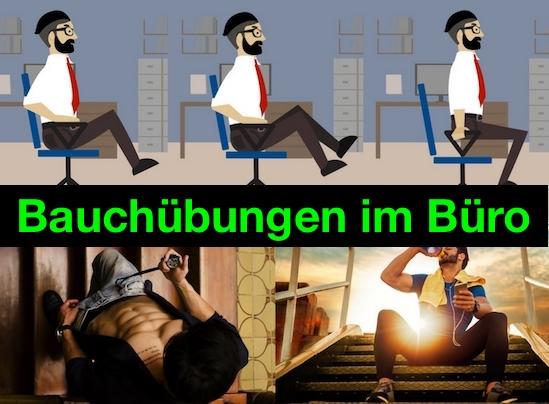 Effektive Bauchübungen im Büro: Foto von fünf Übungen.