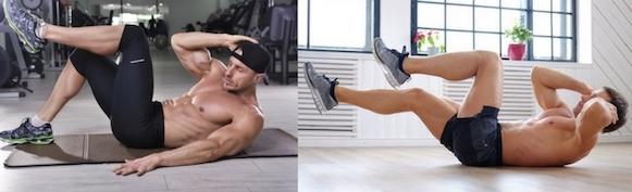 Effektives Sixpack Training: Foto von den Übungen seitliche Crunches und Criss Cross Crunches.