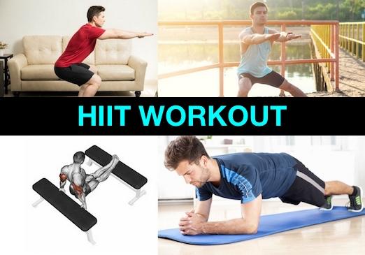 Foto von vier Übungen beim HIIT Workout.
