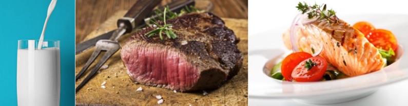 Kohlenhydratarme Lebensmittel: Foto von den eiweißhaltigen Nahrungsmitteln Milch, Fleisch und Fisch.