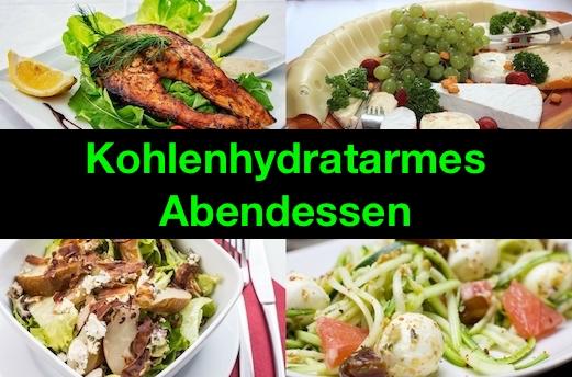Foto von vier Beispielen für ein kohlenhydratarmes Abendessen.